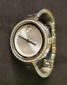Movado Bold Diamond Stainless Steel Bangle Ladies Watch 3600281