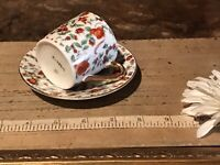 Vintage Red Chintz Floral Demi Tea Cup & Saucer