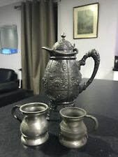 Antique Pewter Meriden Jug And 2 Measures, One Stamped VR With A Crown Above
