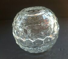 Round Cubist Style Fairy Lamp, Candle Holder, Votive Candle, Clear glass,