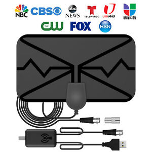 Digital TV Antenna 300 Miles Range Signal Booster Amplifier HDTV Indoor HD 1080P