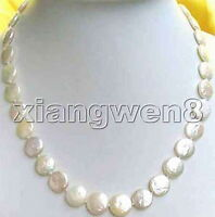 """11-12mm White Natural Freshwater Coin Pearl Necklace for Women Chokers 17"""" n0201"""