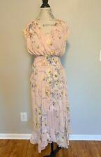 H&M Conscious Floral Chiffon midi Dress Ruffle Smocking RUNS LARGE 2 4 6 8 10 12