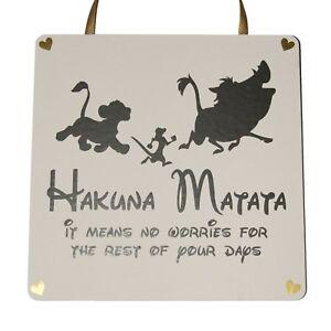 Hukuna Matata Lion King - Handmade wooden Plaque
