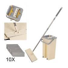 360° Flat Squeeze Microfiber Mop & Bucket Set Home Floor Tiles Cleaning + 10Pads