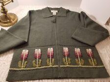 Susan Bristol Large Cardigan Sweater 100% Wool Sage Green Hand Embroidered LG