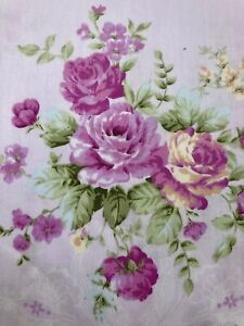 Victorian Light purple Cotton With Roses. Quilt,Dress,Vintage Roses Cotton. BTY