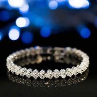 Women Crystal Jewelry Rhinestone Tennis Bracelet Bangle Wedding Bridal Wristband