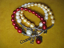 HONORA 3 SET INSPIRATIONAL MESSAGE CHARM WHITE CHERRY RED PEARL BRACELET CROSS
