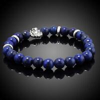 Men's 8mm Blue Lapis Beads Silver Lion Head Beaded Stretch Bracelet Fashion