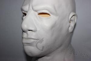 THICK WHITE LATEX MASK HEAVY RUBBER HOOD MASCULINE GIMP FETISH FULL HEAD ZIP