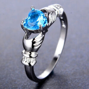 Silver Plated Claddagh Heart With Sea Blue Cubic Zirconia Ring