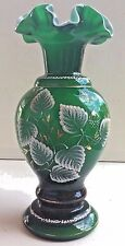 Fenton Ivy Overlay Charleton Vase Emerald Green with Opal Hand Painted 1949-52