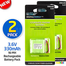 3.6V Ni-MH 2/3 AAA 2/3AAA 330mAh 1.2V 3-Cell Rechargeable Batteries  2-Pack