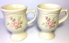 Set of Two Stoneware Pfaltzgraff Tea Rose Pedestal Cups/10 oz