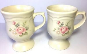 Set of Two Stoneware Pfaltzgraff Tea Rose Pedestal Cups/10 oz