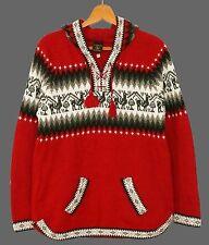 Peru Alpaka Pullover rot, Gr. M,L,XL,XXL, Inka Alpaca Wolle, Lama Ethno Muster