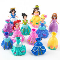 6Pcs 10cm Princess doll with 12Pcs Magic Clip Dress Kids Girls Toys Xmas Gift