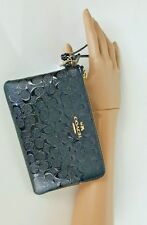 Coach Black Wristlet Wallet Debossed Pebbled Patent Leather New With Tags