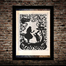 Caterpillar rabbit 2 Alice in Wonderland print on dictionary page art poster