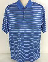Nike Golf SPRINGDALE COUNTRY CLUB Dri Fit Shirt S/S Blue Striped Men's, Large