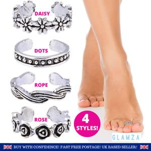 TOE RINGS | 4pc Sterling Silver Finish Toe Ring Cheap Jewellery 4 Styles WOMEN