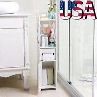 Toilet Bathroom Corner Cabinet White Wood Floor Storage Shelf Organizer White US