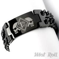 Onepercenter Armband Schwarz XL Edelstahl 1%er Outlaw Biker MC Outlaw Mot Roll