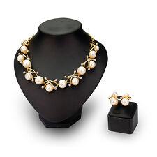 Fashion 2016 New Big Pearl Rhinetone Wedding Bridal Necklace Earring Jewelry Set