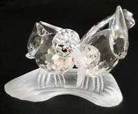 "Swarovski Turtledove Figurines - 1989 ""Amour"" Perching Birds on Branch"
