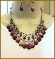 WESTERN Earthtone Brown Tan Iridescent Shells & Beads Cowgirl Necklace Set
