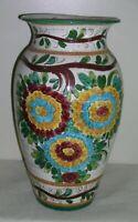 """Large Italian Majolica Ceramic Stoneware Vase Flowers 18.5"""" Signed Made Italy"""