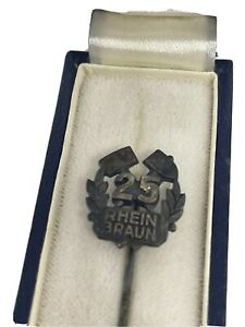 alte Anstecknadel 25 Jahre Rhein Braun Ehren-Nadel 925 Silber Bergbau im Etui