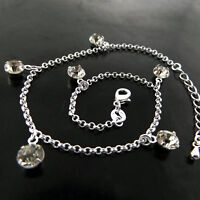 ANKLET GENUINE REAL 925 STERLING SILVER S//F RUBY DIAMOND SIMULATED SWAN DESIGN