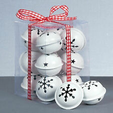 Christmas Decoration 12 Pack Snowflake 40mm Jingle Bell Baubles - White