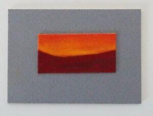 "SUNSET MOUNTAIN LANDSCAPE Miniature Pastel Painting Tiny 1""x2"" Julia Garcia NEW"