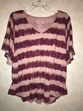 Sonoma Women's Dolman Batwing Sleeve Tie Dye Blouse Shirt Pink Purple Size L