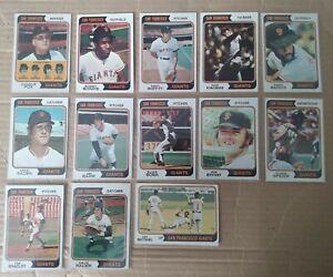 13x 1974 Topps San Francisco Giants cards- Bonds/Kingman