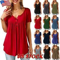 Womens Casual V-Neck Short Sleeve Tee Tops Summer Loose Blouse Plain T Shirt USA