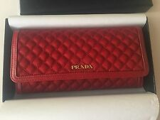 New Prada 1M1132 Tessuto Quilted Nylon Saffiano Leather Red Wallet ID Holder