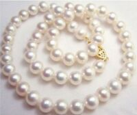 20inch AAA+ 9-10MM SOUTH SEA WHITE PEARL NECKLACE 14K GOLD CLASP
