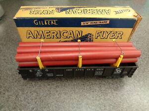 American Flyer S Gauge 1955 911 C & O Gondola W/ Brown Pipes In The Original Box