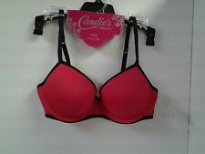 Candie's Demi Push Up Bra 36C Runway Red Padded Underwire Black Trim