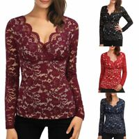 UK New Womens Lace Long Sleeve Plunge Deep V Neck Shirt Ladies Slim Blouse Tops