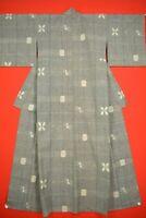 Vintage Japanese Kimono Wool Antique BORO KIMONO Kusakizome  Woven /VJ29/600