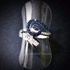Echtschmuck mit Saphir-Hauptstein und Baguette-Ringe für Damen