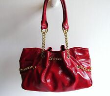 Pietro Alessandro New York Gorgeous New Red Glazed Leather Chain Shoulder Bag