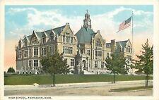 Fairhaven Massachusetts~High School~Clock Tower~1920s Postcard