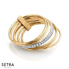 14K Fine Gold Stack Rings With A Single Bar Diamonds