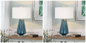 TWO PESCARA TEAL GRAY BLUE GLASS TABLE LAMP BRUSHED NICKEL METAL CRYSTAL BASE